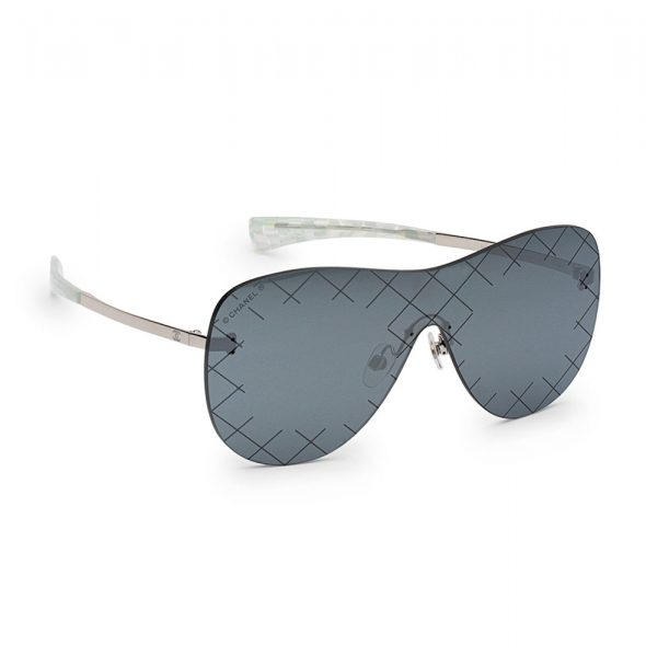Chanel Silver Shield Quilted Sunglasses – Temporarily Your's : chanel quilted glasses - Adamdwight.com